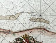 GREAT YARMOUTH, NORFOLK Coast Lowestoft,Caister, Collins Antique Sea Chart c1750